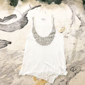 Kenzie | White Tank Top with Beaded Accents